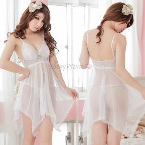 White Sexy Babydoll with T-back BD001WH