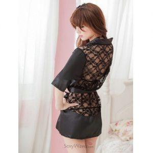 Black Sexy Pyjamas with T-back PJ011