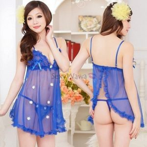 Blue Sexy Babydoll with T-back BD006BL