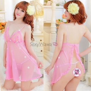 Pink Sexy Babydoll with T-back BD006PK