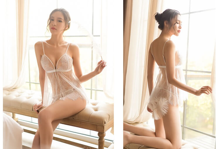 Slips Lace Sexy Babydoll With Panties BD060WH