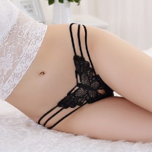 Butterfly Embroidered Lace Low Rise G-String GS003BK