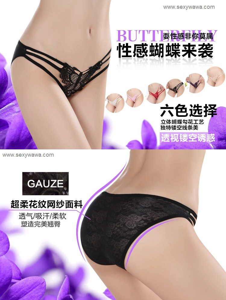 Butterfly Embroidered Lace Low Rise G-String GS003