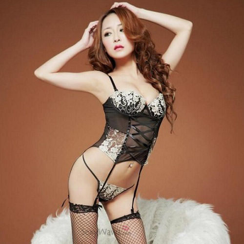 Black Sexy Corset with Garter Belts SC005