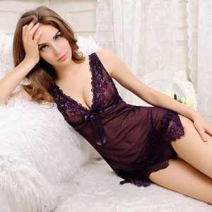 Purple Transparent Flowerly Sexy Babydoll BD044PP