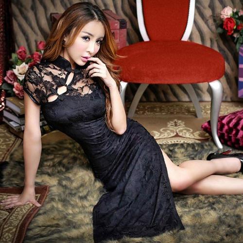 Sexy Long Cheongsam CH010BK