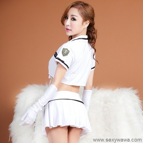 White Sexy Policewoman Costume PL002WH