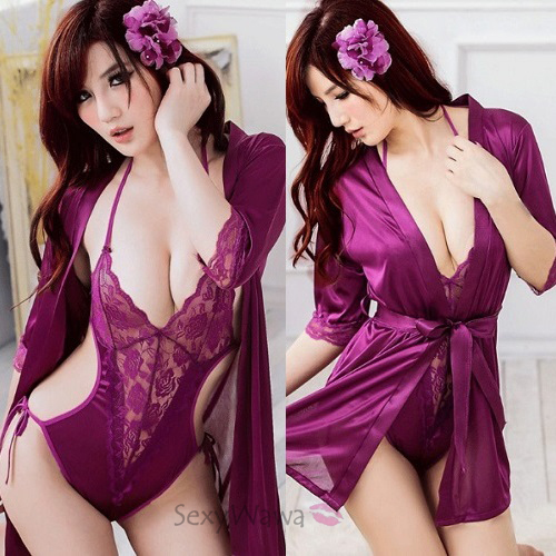 Purple Sexy Teddy with Pyjamas PJ001+TD011 (2PCS)
