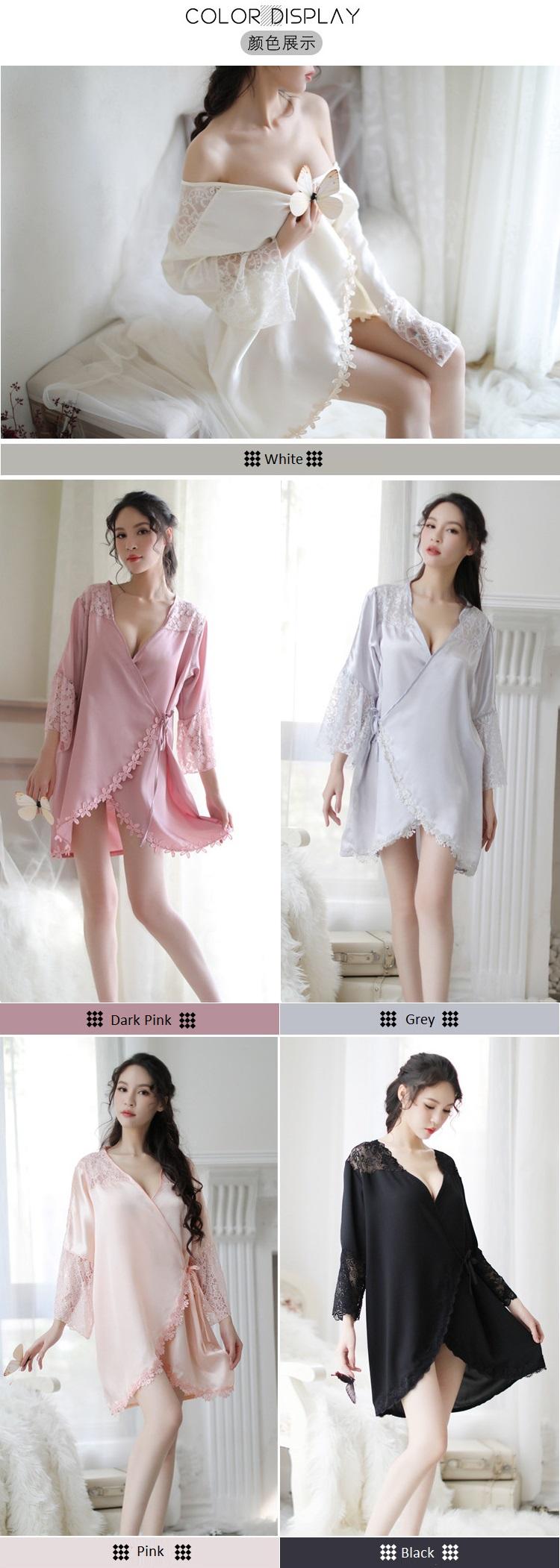 New Style Large Size Lace Silky Pyjamas PJ014