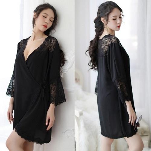 New Style Large Size Lace Silky Pyjamas PJ014BK