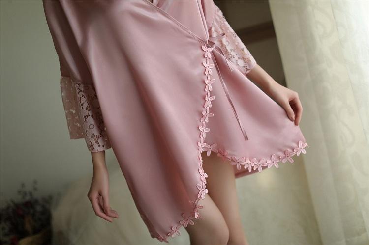 New Style Large Size Lace Silky Pyjamas PJ014DPK