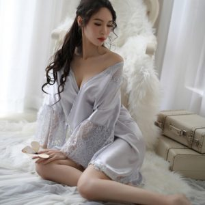 New Style Large Size Lace Silky Pyjamas PJ014GY