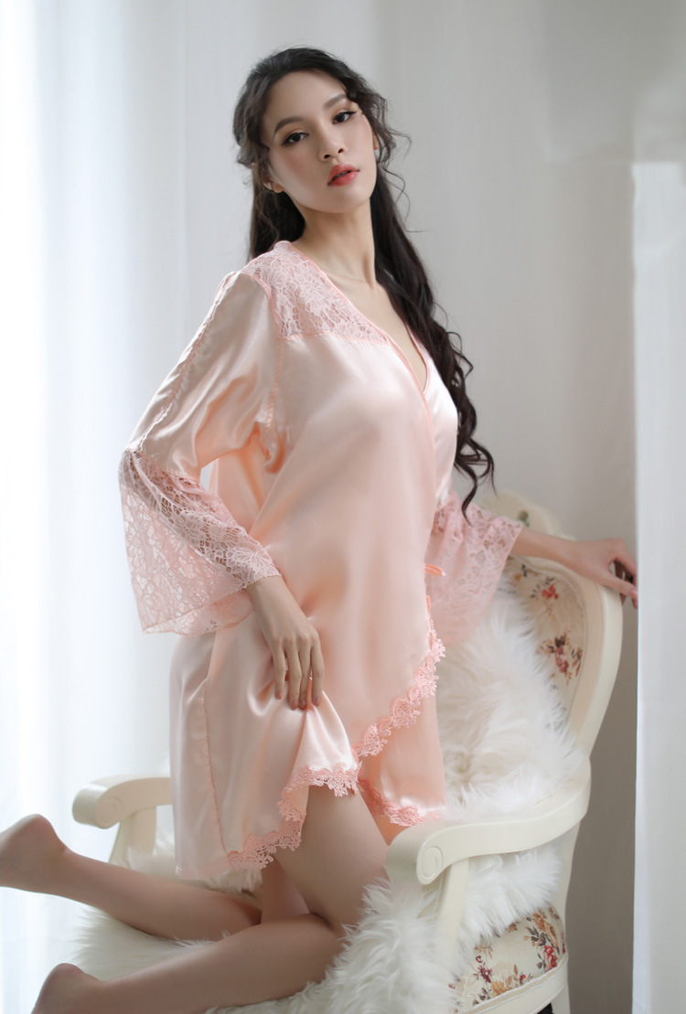 New Style Large Size Lace Silky Pyjamas PJ014PK