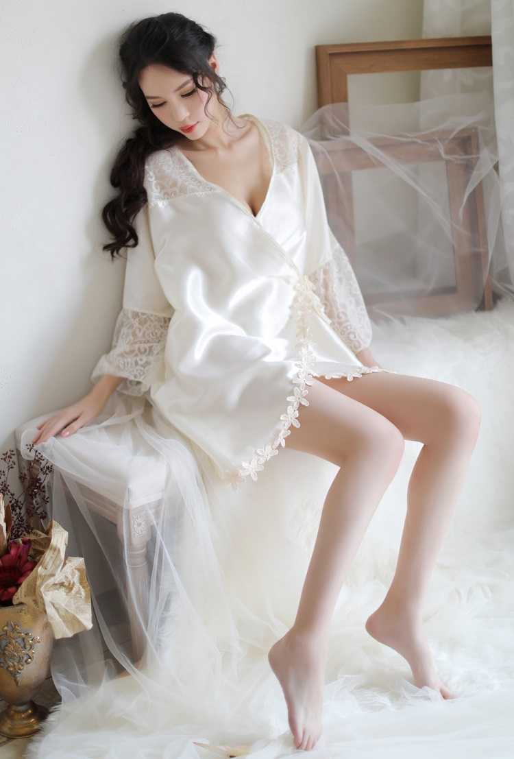 New Style Large Size Lace Silky Pyjamas PJ014WH