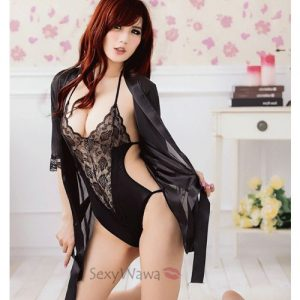 Black Sexy Teddy with Pyjamas PJ001+TD011 (2PCS)