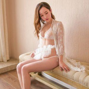 White Sexy Pyjamas with Bikini Set PJ003