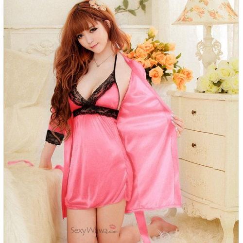 Rose Sexy Pyjamas with Babydoll PJ013RS