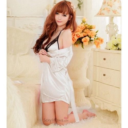 White Sexy Pyjamas with Babydoll PJ013WH