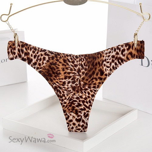 Seamless Leopard Low Waist Thong TB026-Front View