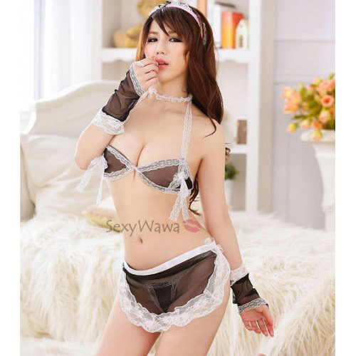 Sexy Maid Bikini Top Bra with Panties MD008BK