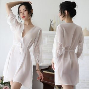 Sexy Ice Silk Bathrobe With T-back PJ008