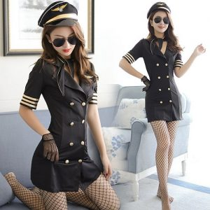 Black Sexy Stewardess Costumes SW005