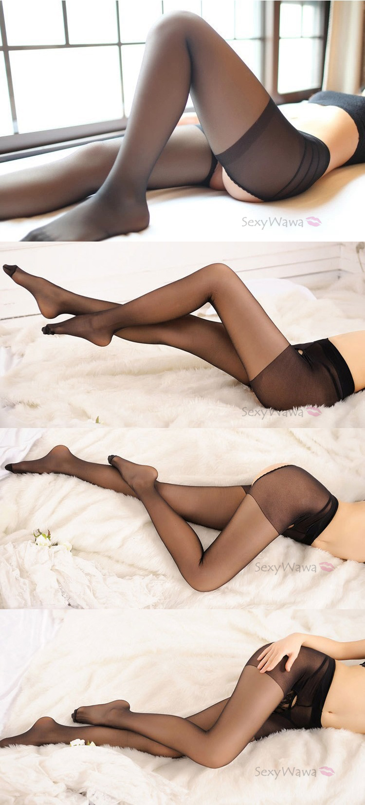 Sexy Transparent Pantyhose Stocking XL7107BK