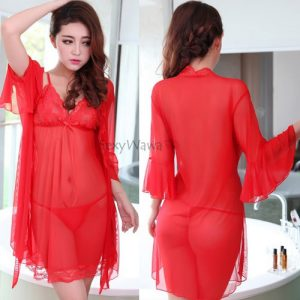 Red Sexy Pyjamas with Babydoll BD048RD