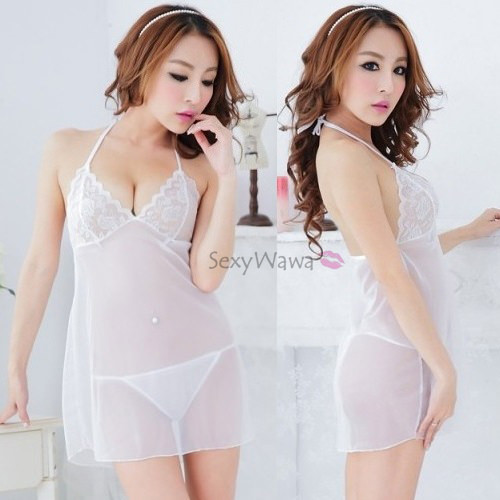 Halter Style Transparent Sexy Babydoll BD066WH