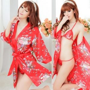 Sexy Kimono Pyjamas with Bikini Top Bra & Panties KM015