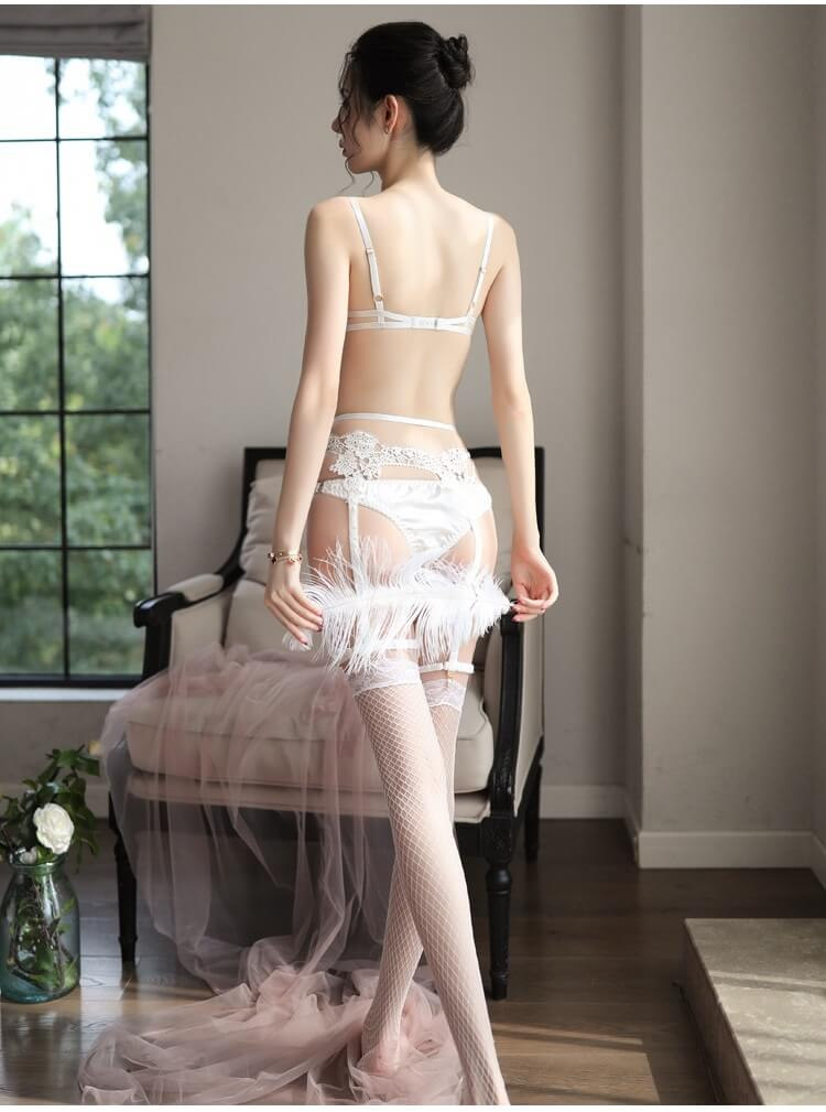 Sexy Bikini Set With Garter Belt & Stocking BK033WH