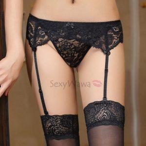 Sexy Panties With Garter & Stocking SKG010BK