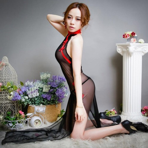 Cheongsam Style Transparent Sexy Long Dress LD012